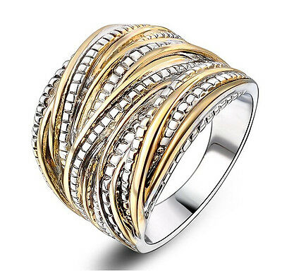 Punk 2-Tone Stainless Steel Ring Wide Band Men/Women's Fashion Jewelry Size 8-10