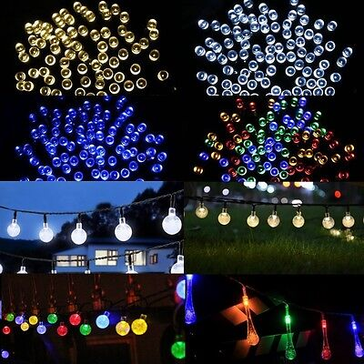 50 100 200 LED Solar Power Fairy Lights String Party Wedding Xmas Outdoor Garden