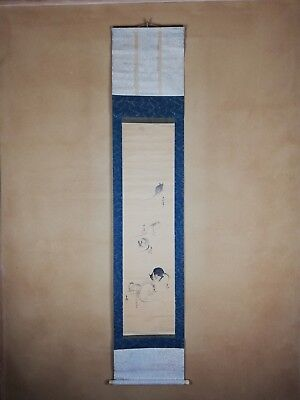 """JAPANESE Antique HANGING SCROLL : """""""" Painting Rats  """" Vintage Signed"""