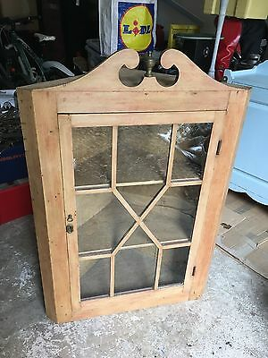 Antique Early 19th Century Pine Glazed Wall Mounted Corner Cupboard