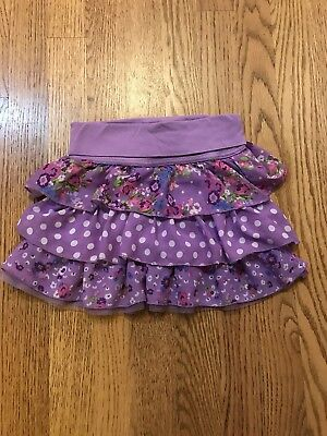 Children's Place Girls Skirt Sz 5/6. Purple Floral with roll down waistband.