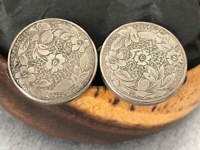 Antique Vintage Engraved Silver Hand Tooled Silver Cufflinks - Men or Women