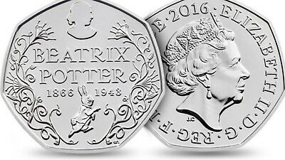 [2016 UK Coin]1x Royal Mint 50p Silver Proof Coin Beatrix Potter the 150th Anni.