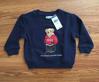 $45 NWT Polo Ralph Lauren Infant Baby Boys Navy Blue Bear Sweatshirt LIMITED