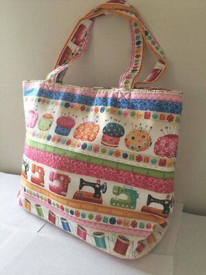 Luxury Knitting Bag Shopping Bag Craft Gift Hobby Sewing Yarn- Cream & Colourful