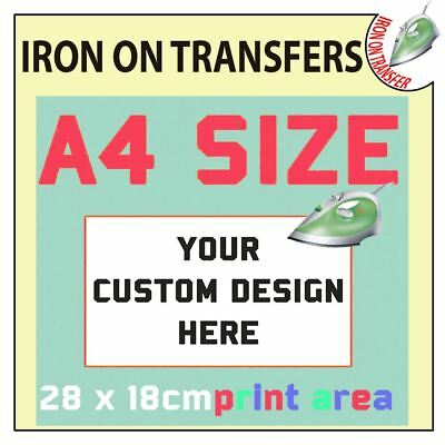 Personalised Custom Iron On T Shirt Transfer Quality Print Your Text Name Image