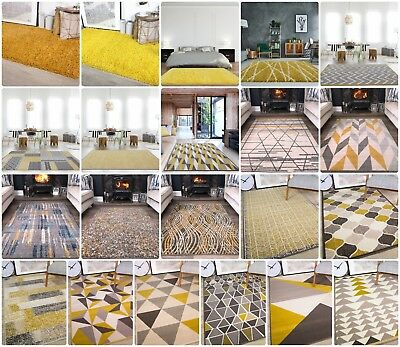 Ochre Mustard Rugs For Living Room Modern Soft Warm Yellow & Grey Geometric Rugs