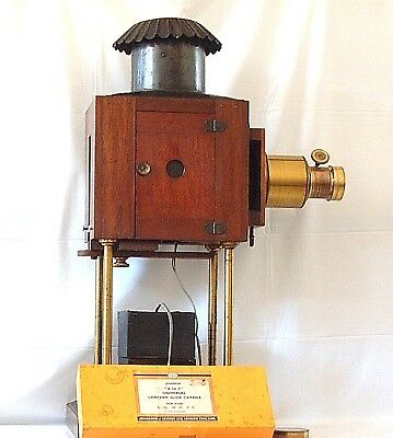MAGIC LANTERN with transformer, 6 inch Newton Brass lens and 4 Slide holders NR