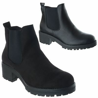 Womens Ladies Chunky Low Block Heel Platform Zip Chelsea Ankle Boots Shoes Size