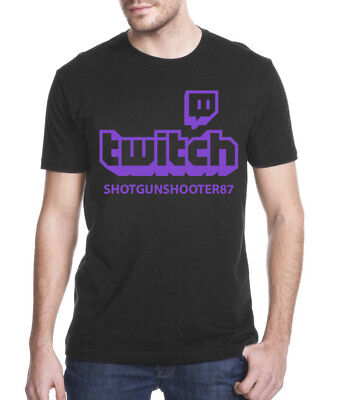 Personalised Twitch T-shirt Mens Black Online Gaming Streaming Gift Present
