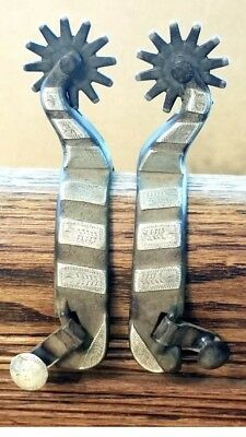 Handmade Maker Marked Silver Mounted & Engraved Cowboy Spurs
