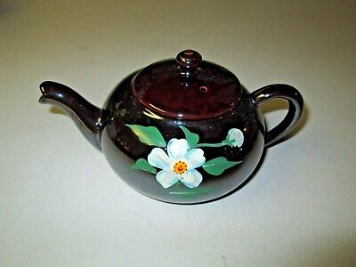 Vintage Glazed Brown Stoneware TEAPOT with Flower Painted on Sides