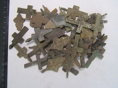Metal detector finds.Mix lot  ancient crosses (The age of 17-19) 50 pieces. N2