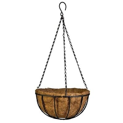 Black Growers Hanging Basket Planter with Chain Flower Plant Pot Home Garden  B8
