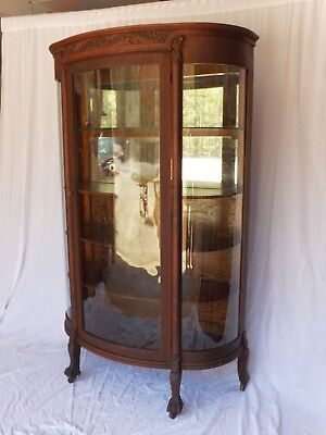 Antique Large Oak China Cabinet w/ Original Curved Glass, 4 Shelves and Carved