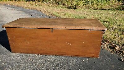 Antique 19th Century Country Primitive Six Board Blanket Chest Heavy