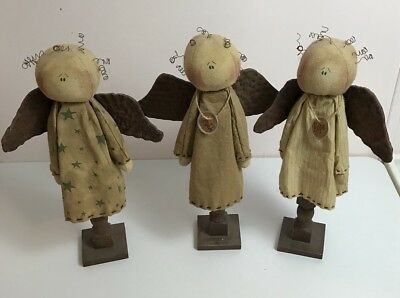 Honey and Me Angel Doll Set Of 3 Vintage Primitive Folk Handmade Hope Faith Lot