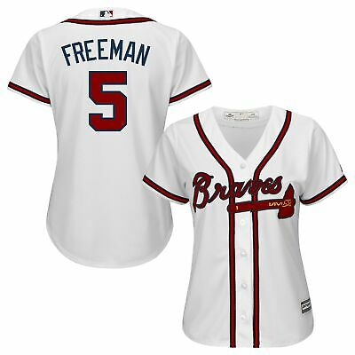 MLB Atlanta Braves Freddie Freeman Majestic Heim Trikot Baseball Shirt Damen