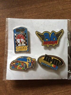 M & M's 36 Irvin Race Car Hat Lapel Pins Race Team New Old Stock In Package 1999