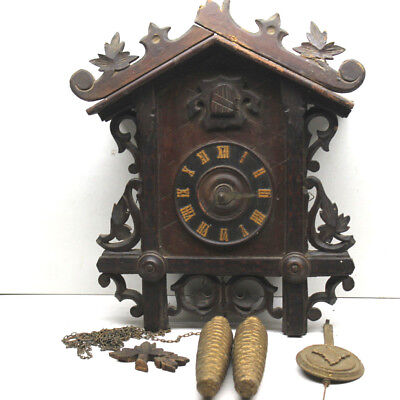 Vintage Cuckoo Clock Bavarian Mechanical Movement  Wood Bird + Pine Cone Weights