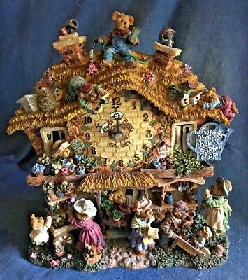 Boyds Bears Collectible GARDEN SHOP Clock Danbury Mint Works New in Box RETIRED