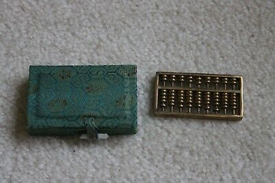 "Vintage/Antique Chinese solid brass mini abacus 2-1/2""Lx1-1/4""Wx5/16""H"