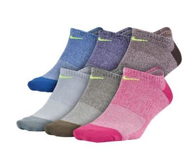 Nike SX6929 Performance Lightweight No-Show 6 Pack Socks Womens Medium Multi-941