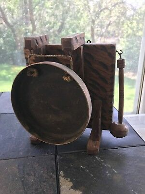 Antique Edwardian Bras and Oak Dinner Gong with Hammer Circa 1890's