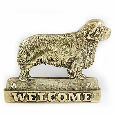 """Clumber Spaniel - brass tablet """"WELCOME"""" with image of a dog, Art Dog"""