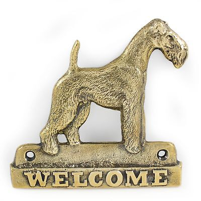 "Wire Fox Terrier - brass tablet ""WELCOME"" with image of a dog, Art Dog"