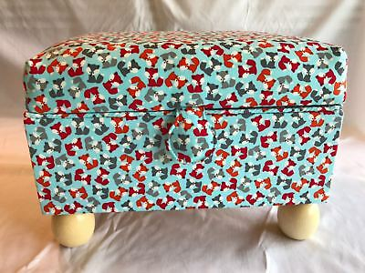 Luxury Footstool Sewing Box Basket Pale Blue Foxes - Craft Storage Case Gift