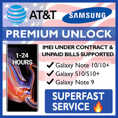 At&T Premium Unlock Code Service For At&T Samsung Galaxy S10 S10+ Note 9 Tab 4