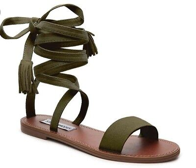 a5714017f53 STEVE MADDEN KAARA Strappy Lace Up Ankle Wrap Olive Green Sandal 7.5 ...