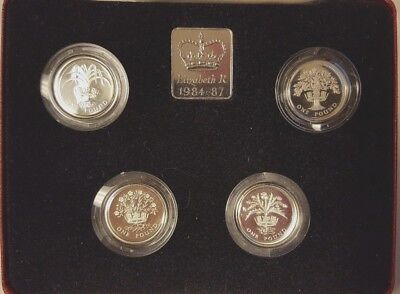 Silver Proof 4 Coin Set 1984-1987 Great Britain 1 Pound Collection | Box & COA