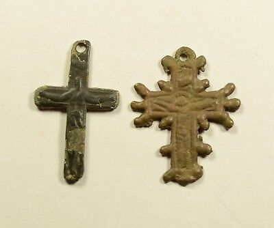 Interesting Byzantine To Post Medieval Bronze Cross - Lot Of 2