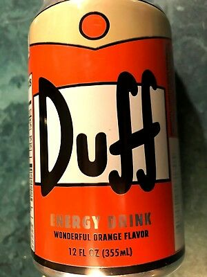 THE SIMPSONS DUFF 'BEER' ORANGE FLAVOR ENERGY SPORTS DRINK 12 oz.CAN ~ EXP 2019