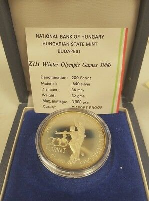 Genuine Proof Piefort 1980 Hungary 200 Forint Olympics | Original Box & COA