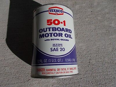 TEXACO Outboard Motor Oil - (1 Qt. Metal Can) - NOS