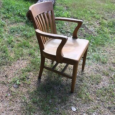 Antique Sikes Wood Office Barrister Lawyers Banker Arm Chair / LOCAL PICKUP ONLY