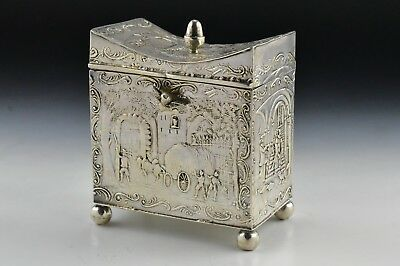 Antique Dutch 900 Silver Tea Caddy with Relief Scenic Views 7.12 troy ounces