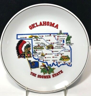 Vtg Oklahoma Sooner State Map Souvenir Collectible Plate Gold Trim Made Japan
