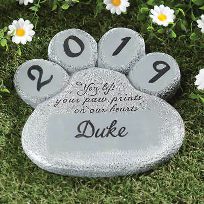 Personalized Paw Print Memorial Stepping Stone Dog Cat Pet Garden Grave Marker