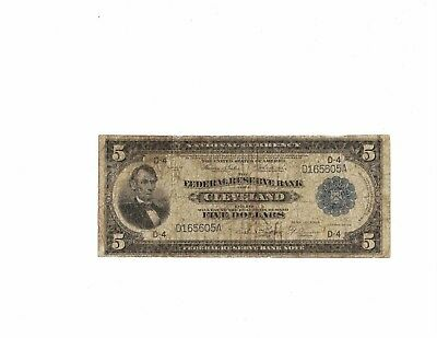 US $5 National Currency Series 1918 Federal Reserve Bank of Cleveland