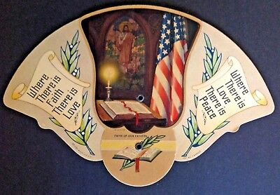 Vtg Folding Cardboard Fan 1943 WW2 Era American Flag Church Funeral Hammond IN