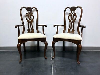 THOMASVILLE Cherry Queen Anne Style Dining Captain's Arm Chairs - Pair