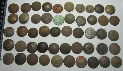 Buttons Of The Russian Empire,Metal detector finds.  50 pieces.