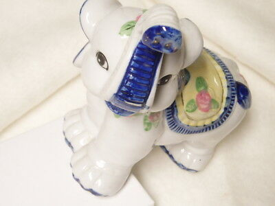 Vintage Floral Ceramic Elephant Figurine 5.25 inches Tall