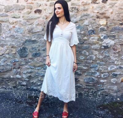 d1eac017 Zara New Embroidered Midi Dress Long Off White Cream Floral Back Tie Size  Xs-Xl