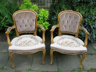 Superb Pair of Solid Walnut, Embroidered Louis XV Style Armchairs - 1970's