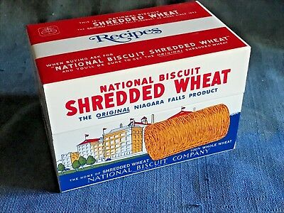 Vintage Metal Shredded Wheat Recipe Box w/Nabisco Recipes Near mint Unused Promo